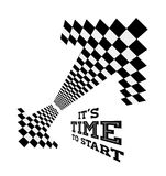 Clock arrows in the form of checkered flag Stock Photos