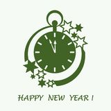 Clock with arrows showing a few minutes until midnight and stars. Design for postcard, banner, poster or print vector illustration