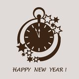 Clock with arrows showing a few minutes until midnight and stars. Design for postcard, banner, poster or print stock illustration