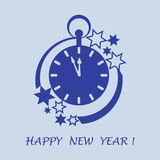 Clock with arrows showing a few minutes until midnight and stars. Design for postcard, banner, poster or print royalty free illustration