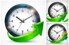 Clock with arrows on white Royalty Free Stock Images