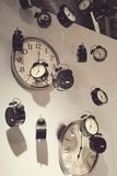 Clock art. Clocks wall mounted and hung for decoration Royalty Free Stock Image