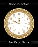 Clock in art deco style, isolated rich decorated object on black background, luxurious golden metal with filigree royalty free illustration