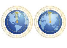 Clock as globe Stock Image