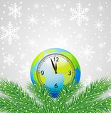Clock as a planet Earth and branches of christmas tree Royalty Free Stock Photography