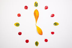 Clock of autumn leafs Royalty Free Stock Images