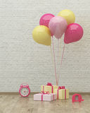 Clock, ballons and presents for girl 3d. Clock ,colorful ballons and presents for girl party on the background of brick wall, 3d render Stock Photos