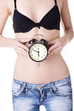 Clock on belly Royalty Free Stock Photo