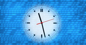 Clock and binary code Royalty Free Stock Photography