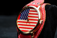 Clock on a black background. American Flag Stock Photos
