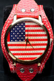 Clock on a black background. American Flag Stock Image
