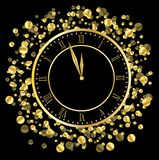 Clock on a black  background with gold spangles Royalty Free Stock Images