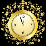 Clock on a black  background with gold spangles Stock Photo
