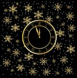 Clock on a black christmas background with snowflakes Royalty Free Stock Photo