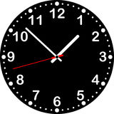 Clock with black dial. Royalty Free Stock Photo
