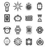 Clock Black Icons Set Royalty Free Stock Photos