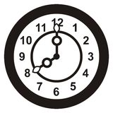 Clock, black silhouette Stock Photos