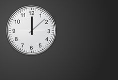Clock with black wall. White clock with black wall Royalty Free Stock Images