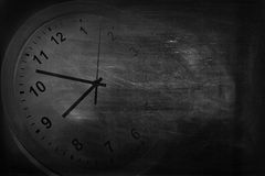 Clock and blackboard Stock Photos