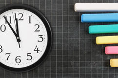 Clock and blank school board Royalty Free Stock Photos