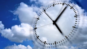 Clock In blue sky stock footage