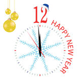 Clock with blue snowflake for new year Stock Images