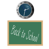 Clock and board. Clock with text back to school and clock on white background Royalty Free Stock Images