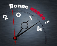 Clock with Bonne annee year 2014 Royalty Free Stock Photography
