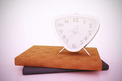 Clock and books 2. Composition of hours with books. 3D illustration Royalty Free Stock Photography