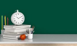 Clock on books and empty blackboard for mockup, back to school concept, 3D rendering. Clock on books with apple and empty blackboard for mockup, back to school Stock Image
