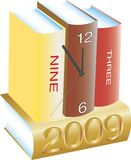 Clock, books and new Year. Vector illustration for clock, books and new Year Vector Illustration