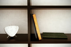 Clock, books, shelf. Clock with books on a shelf. 3D illustration Royalty Free Stock Photos