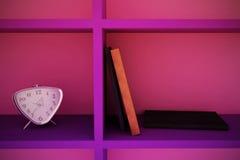 Clock, books, shelf 2. Clock with books on a shelf. 3D illustration Royalty Free Stock Photos