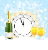 Clock, bottle and two glasses of champagne on to snow Royalty Free Stock Photo