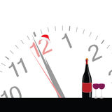 Clock and bottle wine for new year vector Royalty Free Stock Image