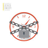 Clock are bound with chains and locked with a padlock flat vecto. Illustration vector clock are bound with chains and locked with a padlock flat style Royalty Free Stock Image