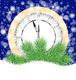 Clock and branches of christmas tree on to snow Stock Photography