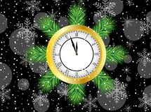 Clock with the branches of christmas tree Stock Photo