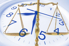 Clock and Brass Scale. Composite of Clock and Brass Scale royalty free stock photos