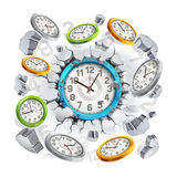 Clock breaking through the concrete wall background. Stock Photo