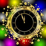 Clock on a bright christmas background with gold spangles Stock Images