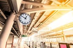 Clock BTS Skytrain station in Bangkok Royalty Free Stock Photography