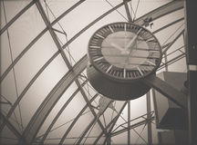 The clock in the building of the railway station Royalty Free Stock Photography
