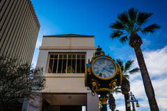 Clock and buildings in downtown Riverside  Stock Photography