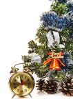 Clock,bumps ,decorated Christmas Tree Royalty Free Stock Image