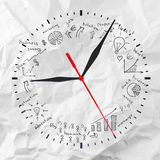 Clock with business sketches Royalty Free Stock Photography