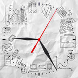 Clock with business sketches Royalty Free Stock Images