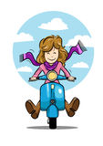 The girl vector travel on scooter Stock Image