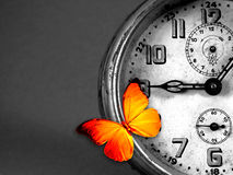 Clock and butterfly. Orange butterfly resting over an old vintage clock Stock Images