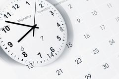Clock and calendar Royalty Free Stock Photo